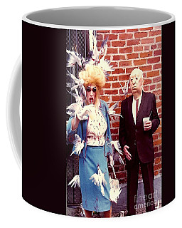 New Orleans The Birds And Alfred Hitchcock Mardi Gras Day In The French Quarter In Louisiana Coffee Mug by Michael Hoard