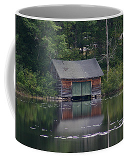 Coffee Mug featuring the photograph The Boat House On Mt Chocorua Lake by Denyse Duhaime