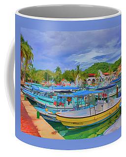 Coffee Mug featuring the digital art The Boats Of Hautulco by Deborah Boyd