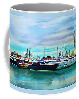 Coffee Mug featuring the painting The Boats Of Malaga Spain by Deborah Boyd