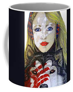 Coffee Mug featuring the drawing The Bounding by Justin Moore