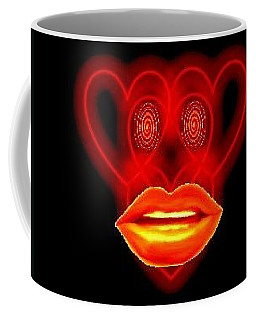 Coffee Mug featuring the digital art The Broadcast Monkey Hearts by Catherine Lott