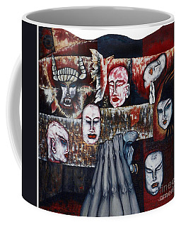 Coffee Mug featuring the painting The Buddhism Conception And The Human World by Fei A