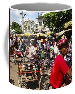 Coffee Mug featuring the photograph The Bustling Traffic On 27th Street Zay Cho Street Market Mandalay Burma by Ralph A  Ledergerber-Photography