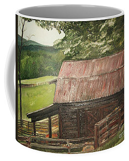 Coffee Mug featuring the painting The Cherrys Barn by Jan Dappen