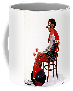 Coffee Mug featuring the painting The Clown, Intermission by Joyce Gebauer