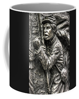 Coffee Mug featuring the photograph The Color Sergeant.  State Of Delaware Monument Detail-g Gettysburg Autumn Mid-day. by Michael Mazaika