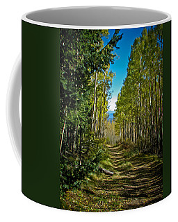 Coffee Mug featuring the painting The Cool Path Through Arizona Aspens by John Haldane