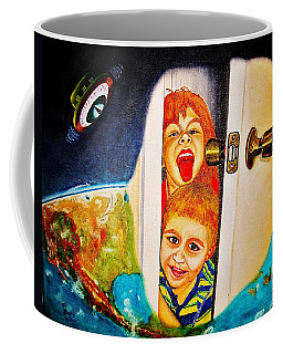 Coffee Mug featuring the painting The Door by Viktor Lazarev