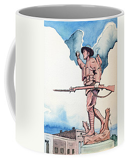 Coffee Mug featuring the painting The Doughboy Stands by Katherine Miller