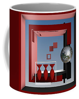 The Earth And Three Red Vases Coffee Mug