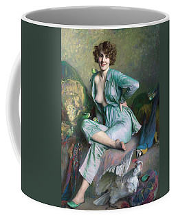 Coffee Mug featuring the painting The Familiar Birds by Emile Friant