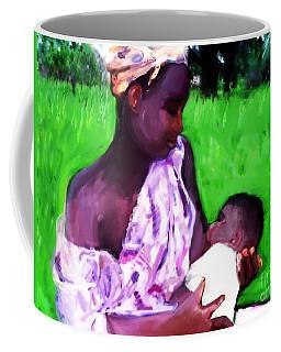 Coffee Mug featuring the painting The Feeding 2 by Vannetta Ferguson