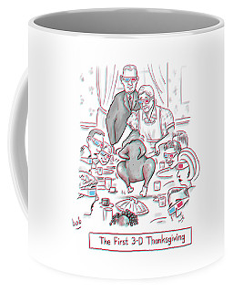 The First 3-d Thanksgiving.  A Turkey Is Dancing Coffee Mug