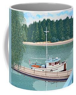 Coffee Mug featuring the painting The Converted Fishing Trawler Gulvik by Gary Giacomelli