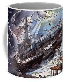 Coffee Mug featuring the painting The Flying Submarine by Reynold Jay