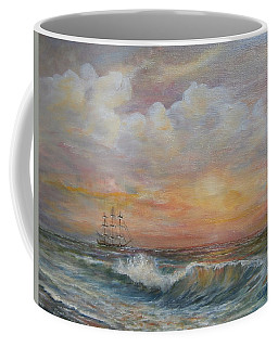 Coffee Mug featuring the painting Sunlit  Frigate by Katalin Luczay