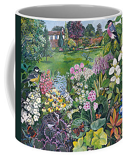 The Garden With Birds And Butterflies Coffee Mug