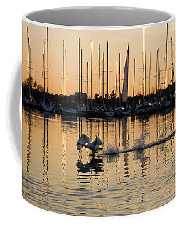The Golden Takeoff - Swan Sunset And Yachts At A Marina In Toronto Canada Coffee Mug by Georgia Mizuleva