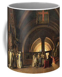 The Inauguration Of Jacques De Molay Into The Order Of Knights Templar In 1295 Oil On Canvas Coffee Mug