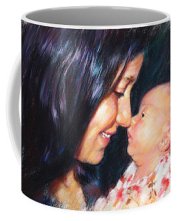 Coffee Mug featuring the drawing The Joy Of A Young Mother by Viola El