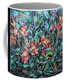 Coffee Mug featuring the painting The Late Bloomers by Xueling Zou