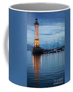 The Lighthouse Of Lindau By Night Coffee Mug
