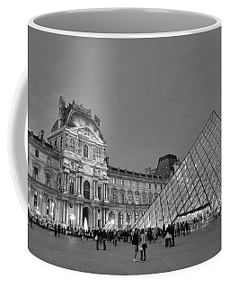 The Louvre Black And White Coffee Mug by Allen Beatty