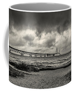 The Mackinac Bridge B W Coffee Mug