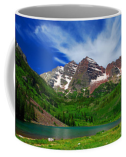 The Majestic Maroon Bells With Tiny Tourists Coffee Mug