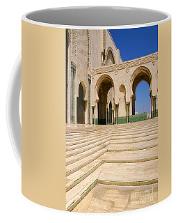 Coffee Mug featuring the photograph The Massive Colonnades Leading To The Hassan II Mosque Sour Jdid Casablanca Morocco by Ralph A  Ledergerber-Photography
