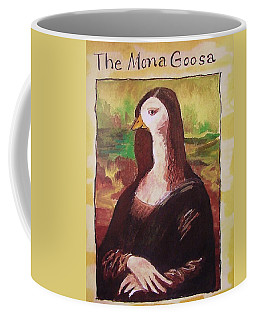 Coffee Mug featuring the painting The Mona Goosa by Margaret Bobb