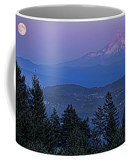 The Moon Beside Mt. Hood Coffee Mug