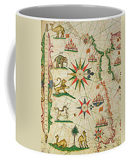 The North African Coast, From A Nautical Atlas, 1651 Ink On Vellum Detail From 330919 Coffee Mug