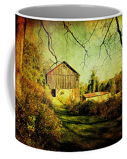 Coffee Mug featuring the photograph The Old Barn With Texture by Trina  Ansel