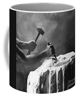 Coffee Mug featuring the photograph Chipping The Old Block by Mark Greenberg