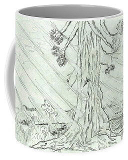 Coffee Mug featuring the drawing The Old Tree In Spring Light  - Sketch by Felicia Tica