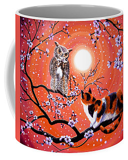 The Owl And The Pussycat In Peach Blossoms Coffee Mug
