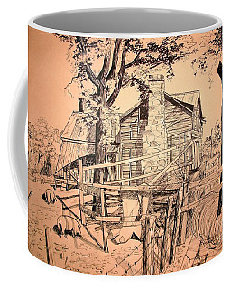 Coffee Mug featuring the drawing The Pig Sty by Kip DeVore