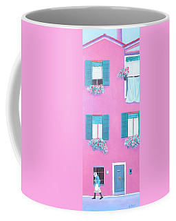 The Pink House With Green Shutters Coffee Mug