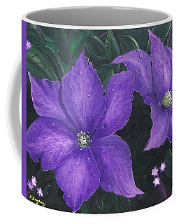 Coffee Mug featuring the painting The President Clematis by Sharon Duguay