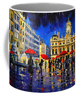 The Red Umbrellas Of Lyon Coffee Mug