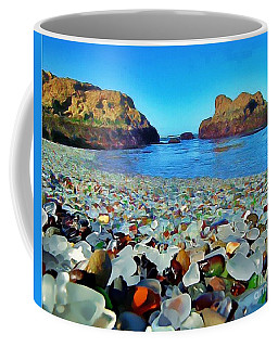 Coffee Mug featuring the digital art Glass Beach In Cali by Catherine Lott