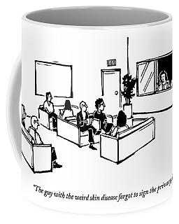 The Scene Is A Doctor's Waiting Room. People Coffee Mug
