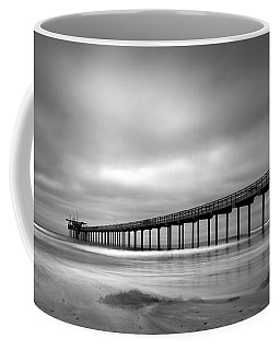 The Scripps Pier - Black And White Coffee Mug