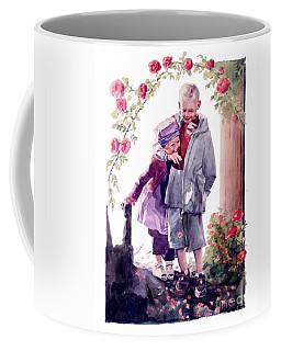Watercolor Of A Boy And Girl In Their Secret Garden Coffee Mug