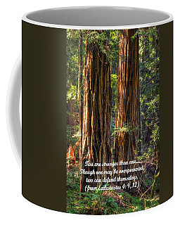 The Strength Of Two - From Ecclesiastes 4.9 And 4.12 - Muir Woods National Monument Coffee Mug