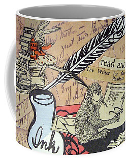 Coffee Mug featuring the drawing The Studious Rabbit And The Monkey by Eloise Schneider