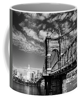 Coffee Mug featuring the photograph The Suspension Bridge Bw by Mel Steinhauer