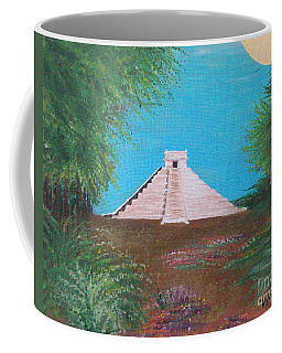 Coffee Mug featuring the painting The Temple Of Kukulcan by Alys Caviness-Gober